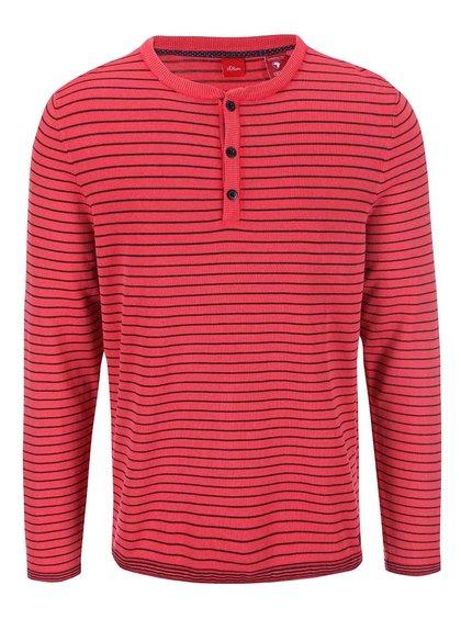 Červený pánsky pruhovaný sveter s.Oliver