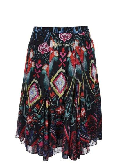 Čierna voľnejšia sukňa so vzormi Desigual Camelia