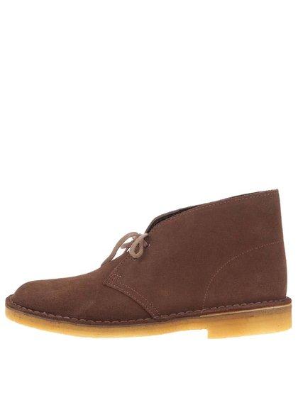 Hnědé pánské kožené kotníkové boty Clarks Desert Boot