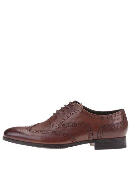 Pantofi brogue bărbătești maro din piele Clarks Banfield Limit