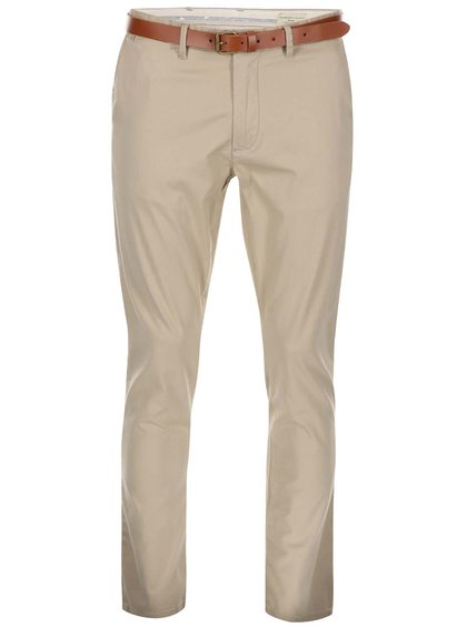 Béžové slim fit chino nohavice s opaskom Selected Homme Yard