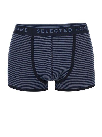 Tmavomodré pruhované boxerky Selected Homme Klo