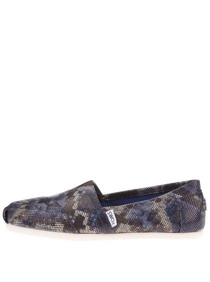 Modré kožené loafers s motivem hadí kůže TOMS