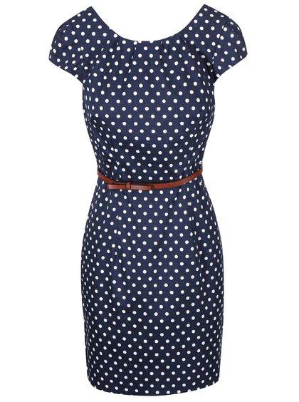 Modré bodkované šaty s opaskom Vero Moda Kaya