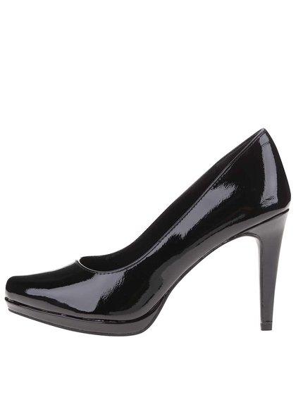 Pantofi cu toc lucioși Tamaris - negru