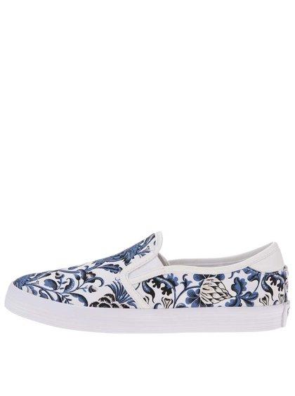 Espadrile Tamaris albe cu flori albastre