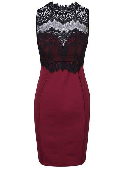 Vínové šaty s čipkovaným topom ku krku Lipsy