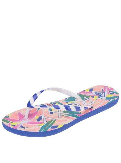 Papuci albastru cu alb și imprimeu tropical Roxy Mimosa