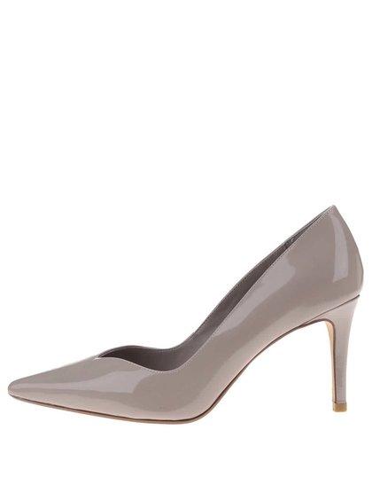 Pantofi cu toc bej-gri lucioși Dune Alessia
