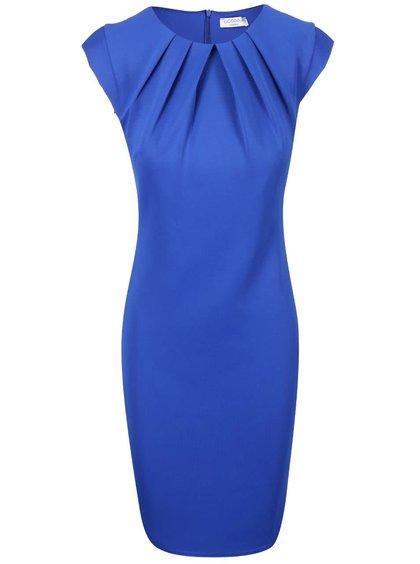 Modré puzdrové šaty s riasením vo výstrihu Goddiva