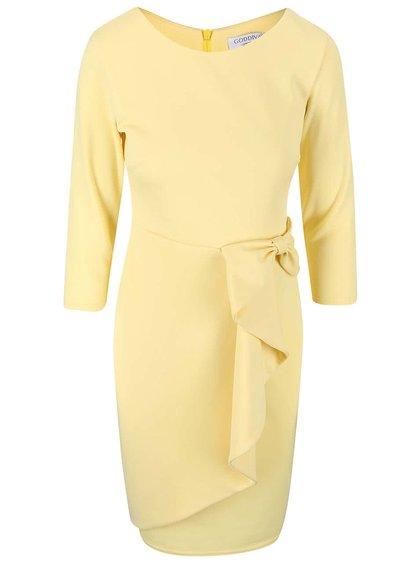 Svetložlté šaty s ozdobnou mašľou Goddiva