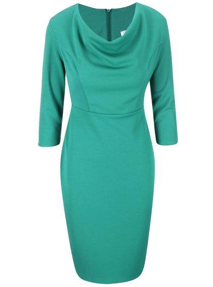 Zelené šaty s nariaseným výstrihom Goddiva