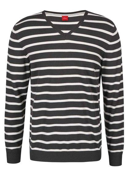 Bielo-sivý pánsky pruhovaný sveter s.Oliver