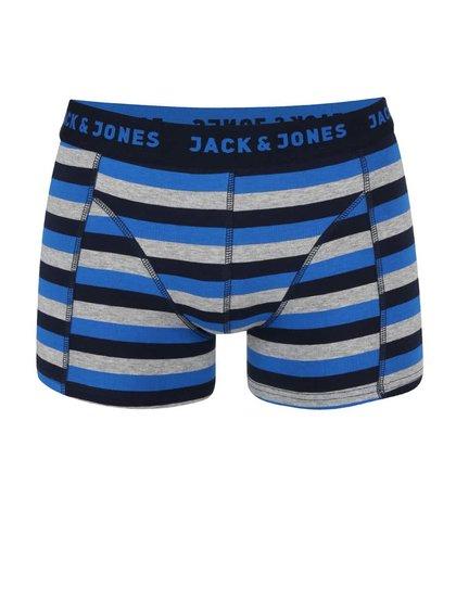 Tmavomodré pruhované boxerky Jack & Jones Stripe