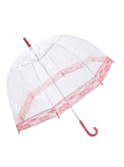 Priehľadný dáždnik s červenou čipkou Lindy Lou Lacedome