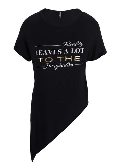 Černé asymetrické tričko s potiskem Haily´s Candy