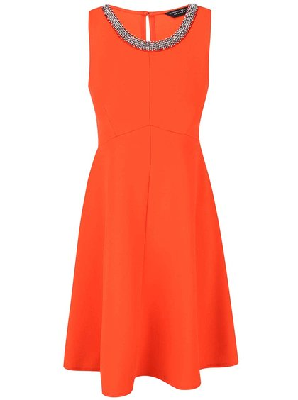 Oranžové šaty s ozdobnou aplikací Dorothy Perkins