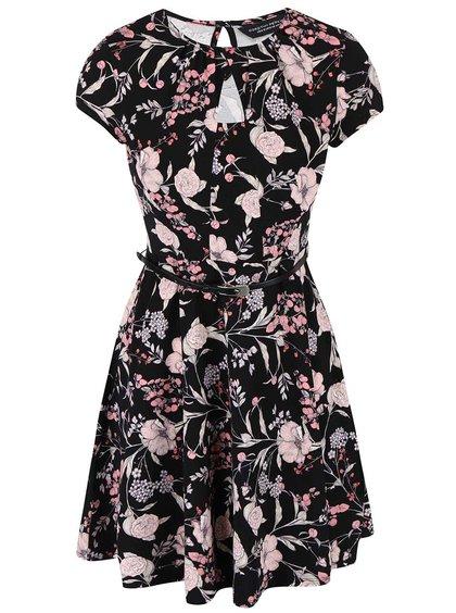Černé květované šaty s páskem Dorothy Perkins