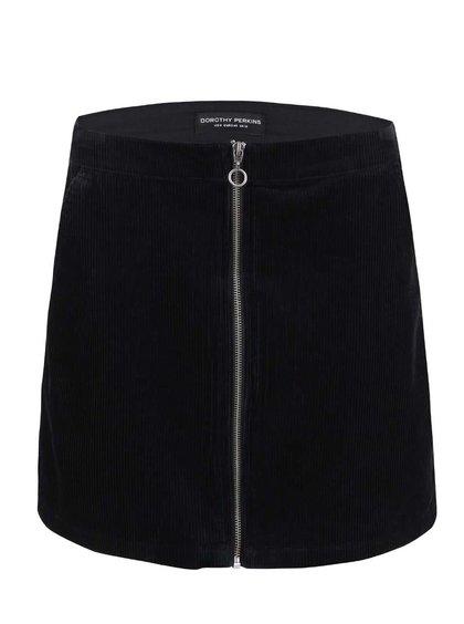 Čierna menčestrová sukňa so zipsom Dorothy Perkins