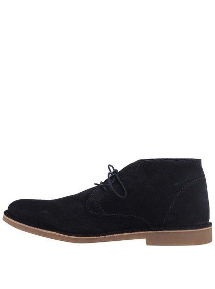 Tmavě modré kožené kotníkové boty Selected Royce