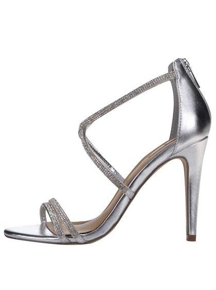 Sandálky v striebornej farbe na podpätku ALDO Arenani