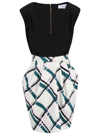 Černo-krémové šaty s vzorovanou sukní Closet