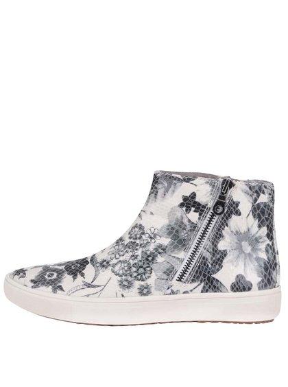 Sivo-biele kvetované členkové topánky Tamaris