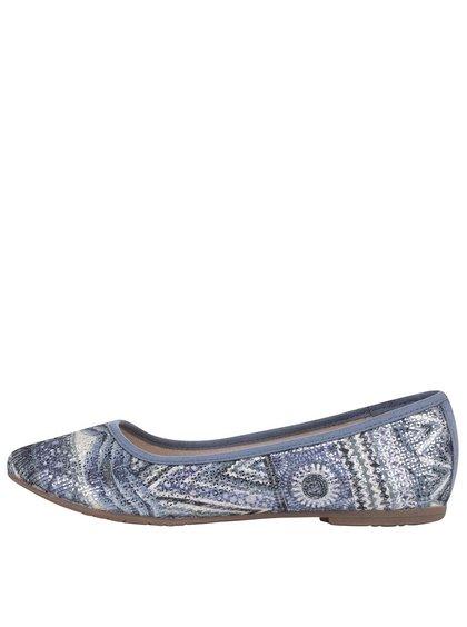 Modré lesklé baleríny s etno vzormi Tamaris