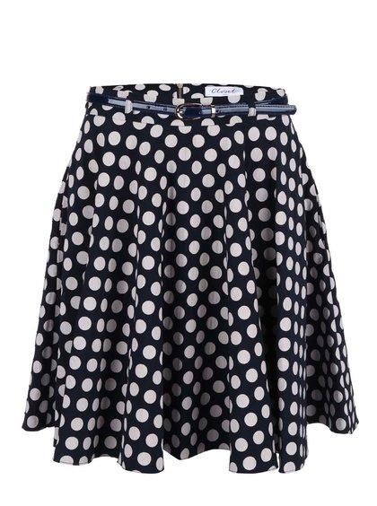 Tmavě modrá sukně s krémovými puntíky Closet