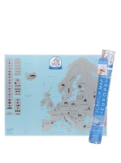 Střední stírací mapa Evropy Luckies