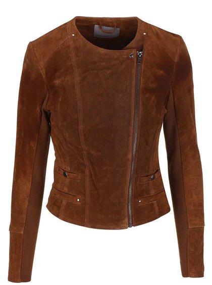 Hnedá semišová bunda na zips VERO MODA Forever