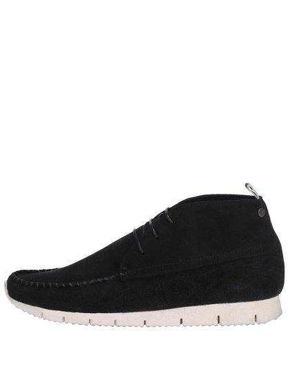 Čierne kožené členkové topánky Jack & Jones Moc