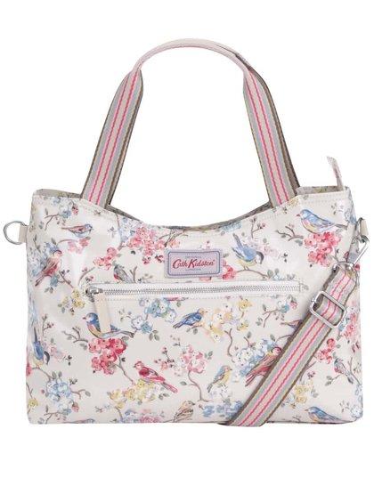 Krémová veľká kabelka s kvetmi a vtáčikmi Cath Kidston