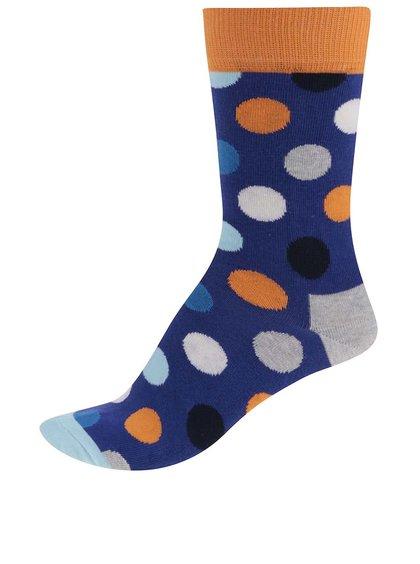 Modré dámske bodkované ponožky Happy Socks Big Dot