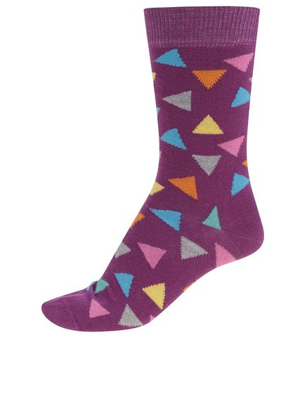 Șosete Happy Socks Triangle de damă mov cu triunghiuri