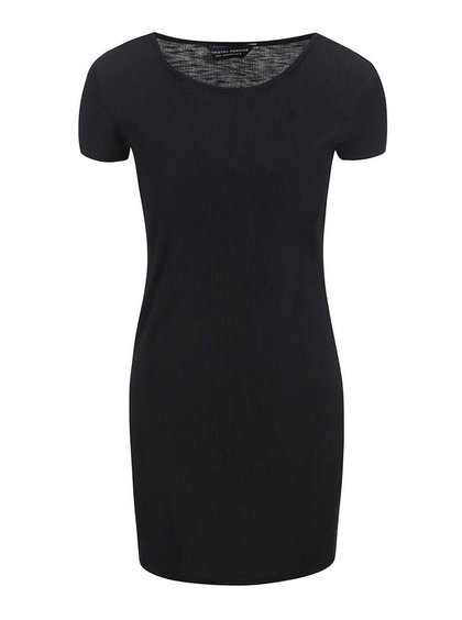 Čierne dlhšie rebrované tričko s krátkym rukávom Dorothy Perkins