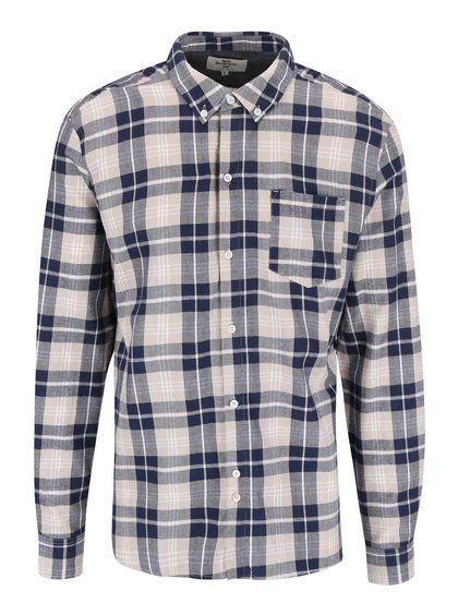 Bellfield Barrow Beige and Blue Chequered Shirt
