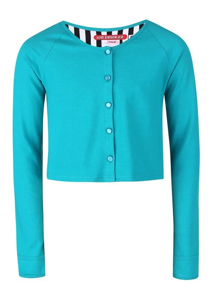 Tyrkysový dievčenský gombíkový sveter LoveStation22 Robin