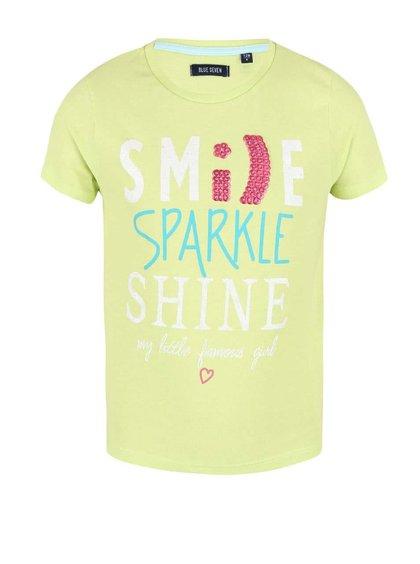 Tricou Blue Seven Fashion Gang pentru fete galben cu verde și imprimeu