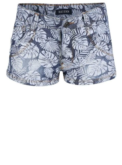 Pantaloni scurți Blue Seven albaștri cu imprimeu cu frunze