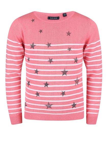 Růžový holčičí svetr s hvězdičkami Blue Seven