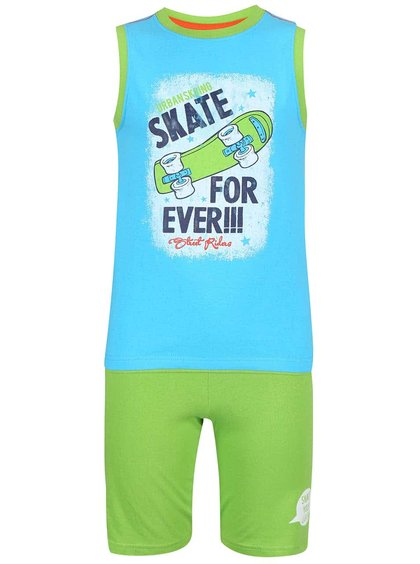 Set de pantaloni scurți și maieu Blue Seven pentru băieți verde și turcoaz cu imprimeu