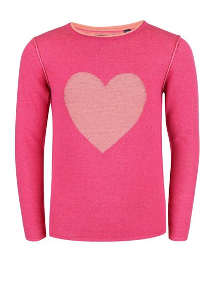Ružový dievčenský sveter so srdcom Blue Seven