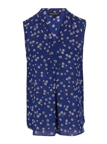 Modrá květovaná halenka bez rukávů Dorothy Perkins