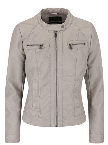 Jachetă ONLY Bandit bej- gri din imitație de piele