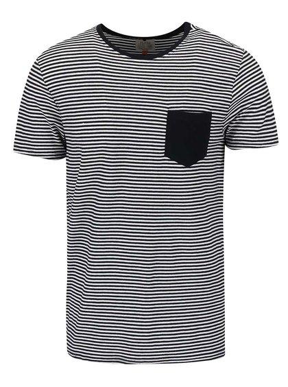 Černé pruhované triko s náprsní kapsou Blend