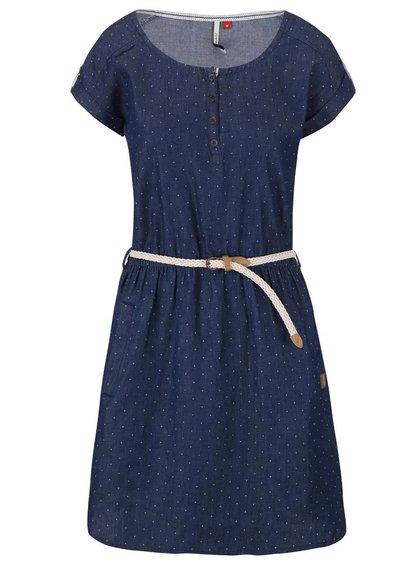 Tmavě modré puntíkované šaty s páskem Ragwear Geena