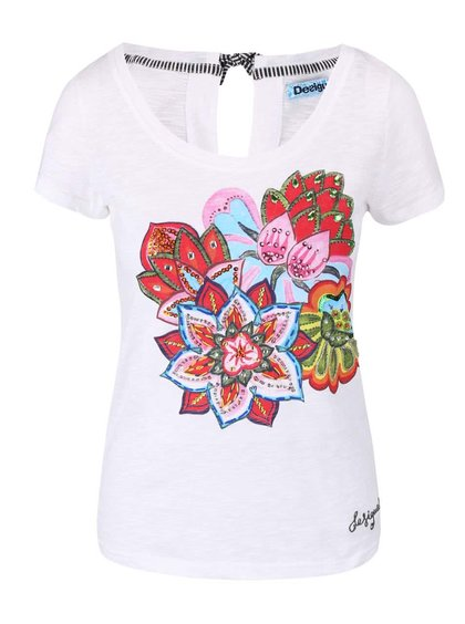 Bílé tričko s květinovým motivem s kamínky Desigual Achlys