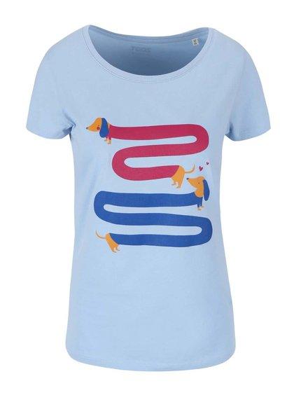 Svetlomodré dámske tričko ZOOT Originál Jezevčíci