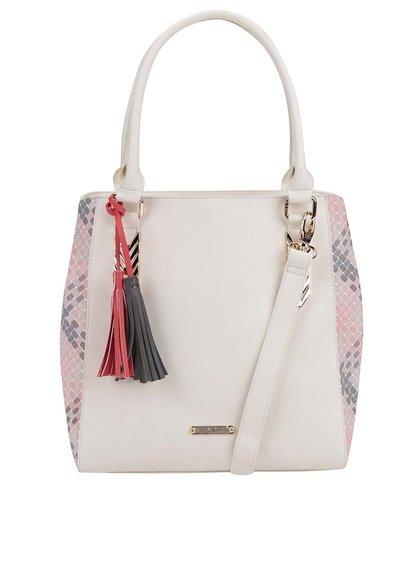 Krémová kabelka so strapcami LYDC